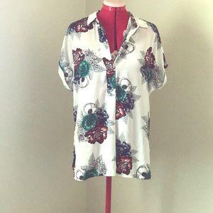 Oversized retro flower print tunic